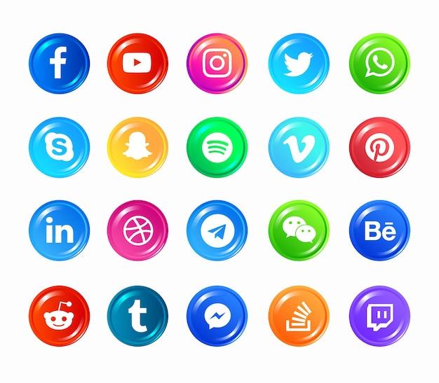Ícones de mídia social Vetor Premium