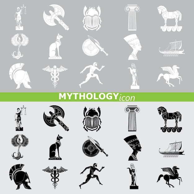 Ícones de mitologia. conjunto de linhas. Vetor Premium