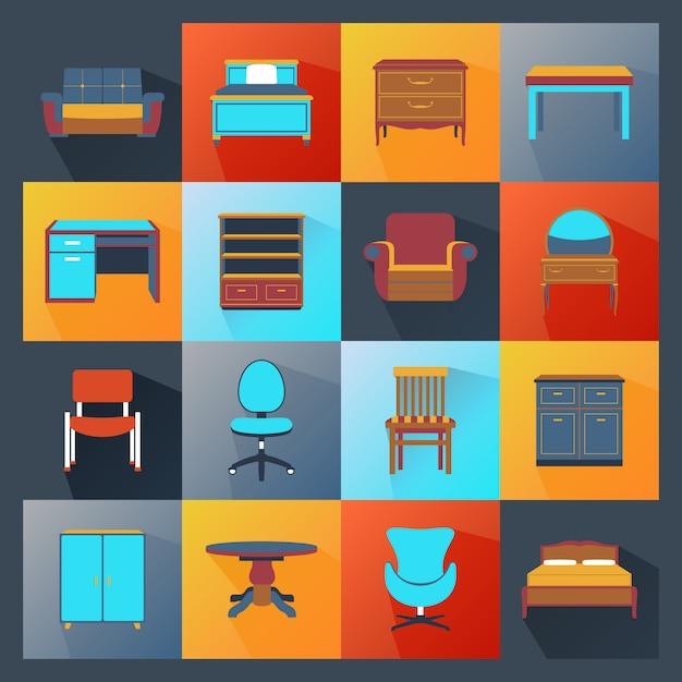 Ícones de mobília planas Vetor grátis