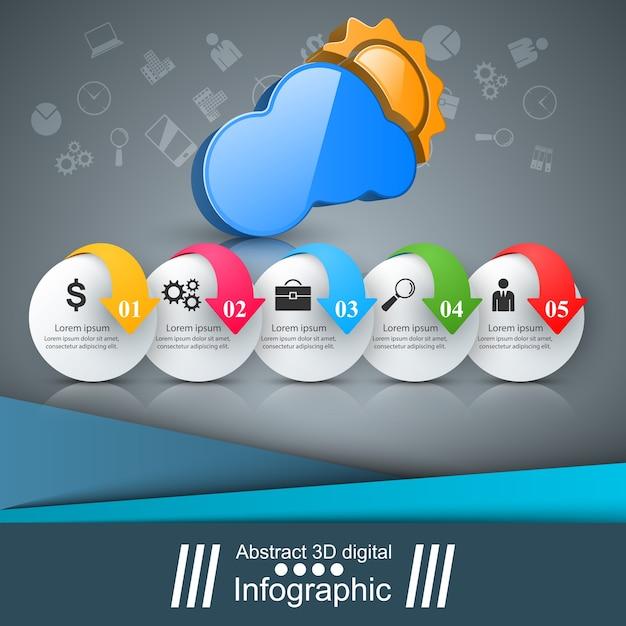 Ícones de modelo e marketing de projeto 3d infográfico Vetor Premium