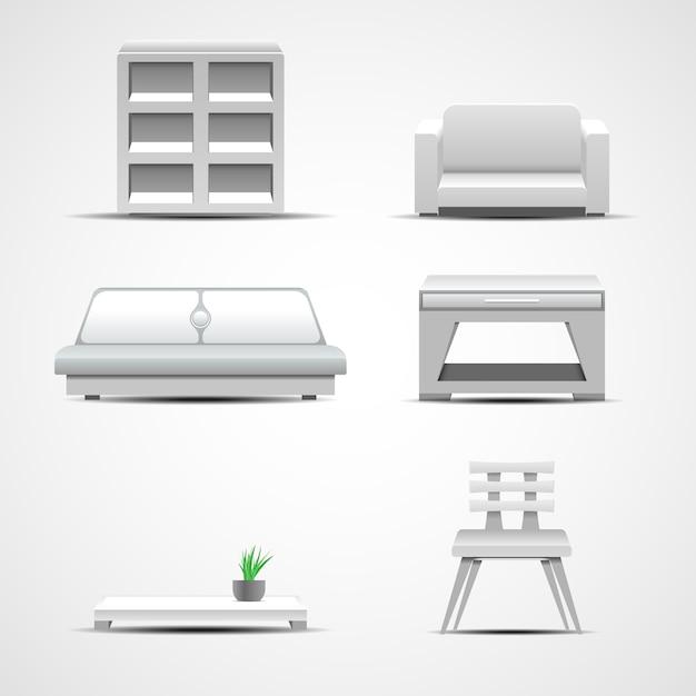 Ícones de móveis. conceito gráfico Vetor Premium