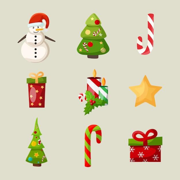 Ícones de natal com boneco de neve árvore de natal doce vela holly berry e estrela isolada Vetor grátis