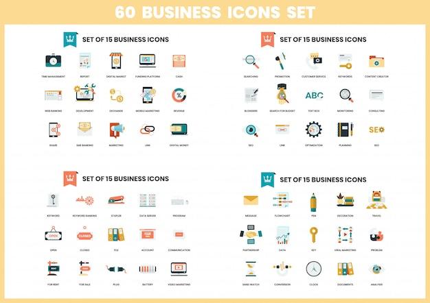 Ícones de negócios definido para negócios Vetor Premium