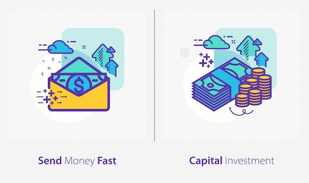 Ícones de negócios e finanças, enviar dinheiro rápido, investimento de capital Vetor Premium