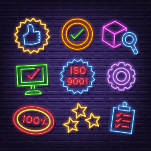 Ícones de neon de controle de qualidade Vetor Premium