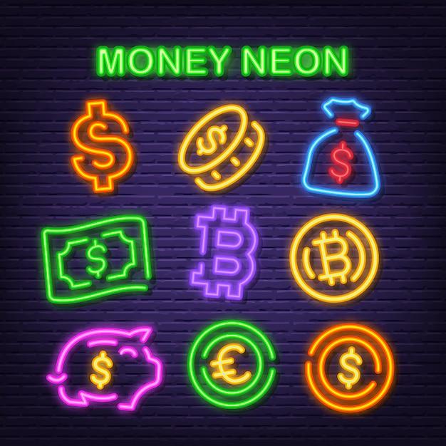 Ícones de néon de dinheiro Vetor Premium