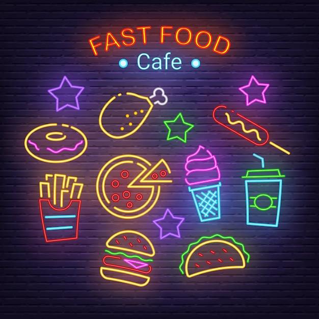 Ícones de néon de fast-food Vetor Premium