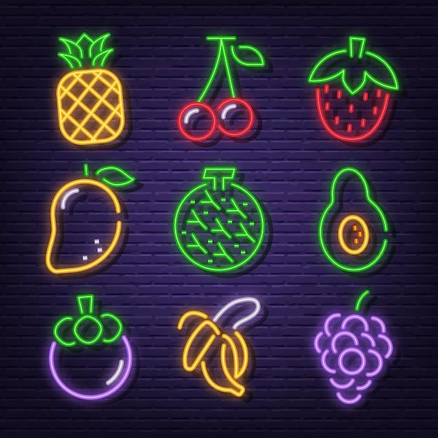 Ícones de néon de frutas Vetor Premium