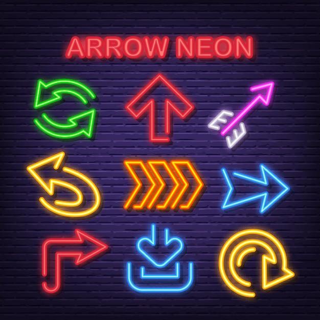 Ícones de néon de seta Vetor Premium