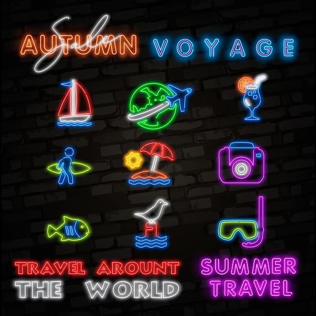 Ícones de néon de viagens de verão. Vetor Premium