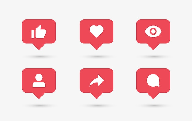Ícones de notificação de mídia social em balões de fala, como o seguidor de comentários de amor e compartilhamento visto Vetor Premium