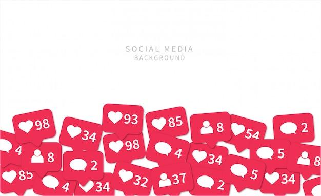 Ícones de notificações de mídia social. fundo de mídia social. Vetor Premium