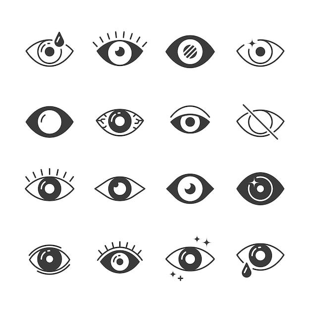 Ícones de olho. visão humana e sinais de visão. visível, durma e observe símbolos Vetor Premium