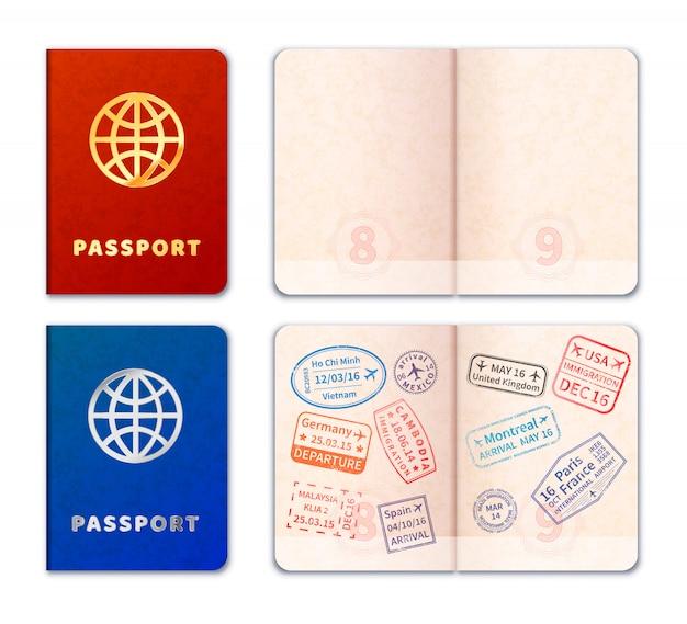 Ícones de passaporte realista Vetor Premium