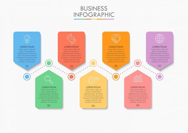 Ícones de passo de infográfico de cronograma de dados de negócios Vetor Premium
