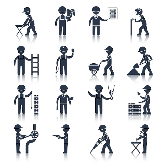 Ícones de personagem de trabalhador de construção pretos Vetor Premium