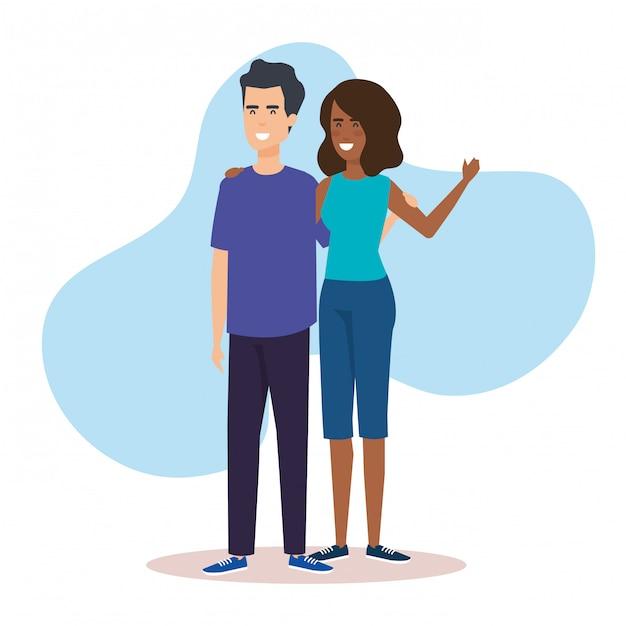Ícones de personagens de avatar de casal Vetor grátis