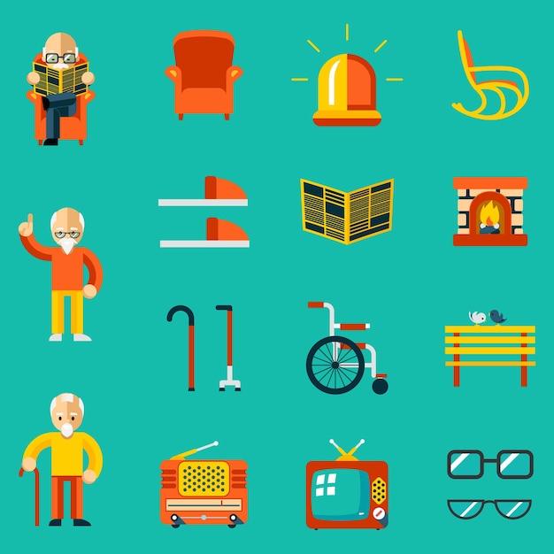 Ícones de pessoas idosas. lareira e jornal, chinelos e banco, rádio e tv. ilustração vetorial Vetor grátis