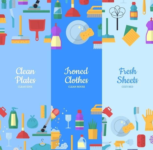 Ícones de plano de limpeza web banner conjunto Vetor Premium