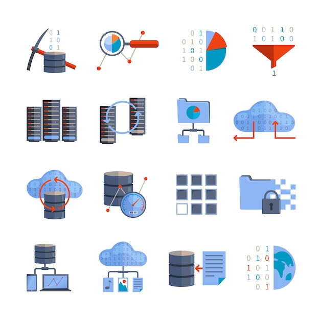 Ícones de processamento de dados Vetor grátis