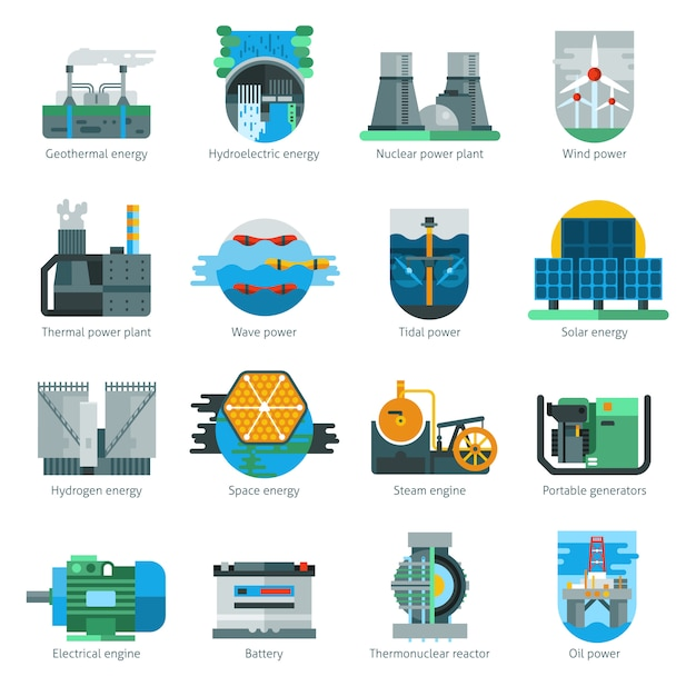 Ícones de produção de energia Vetor grátis
