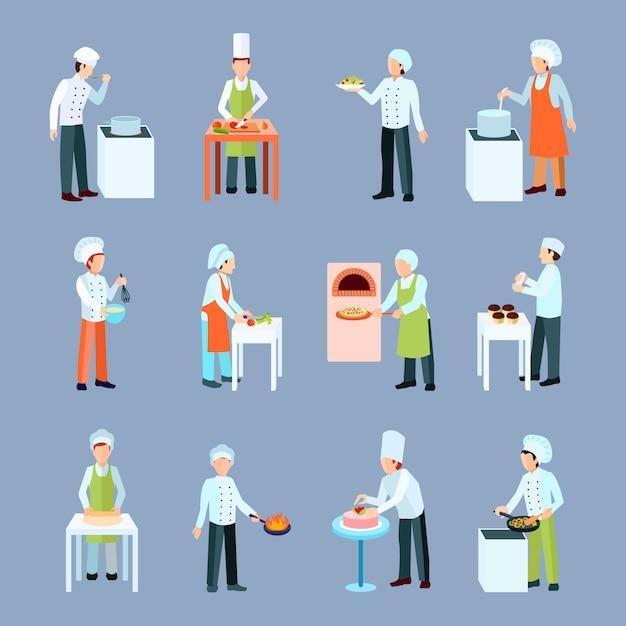 Ícones de profissão de cozinheiro conjunto com salada pizza e bolo fazendo plana Vetor grátis