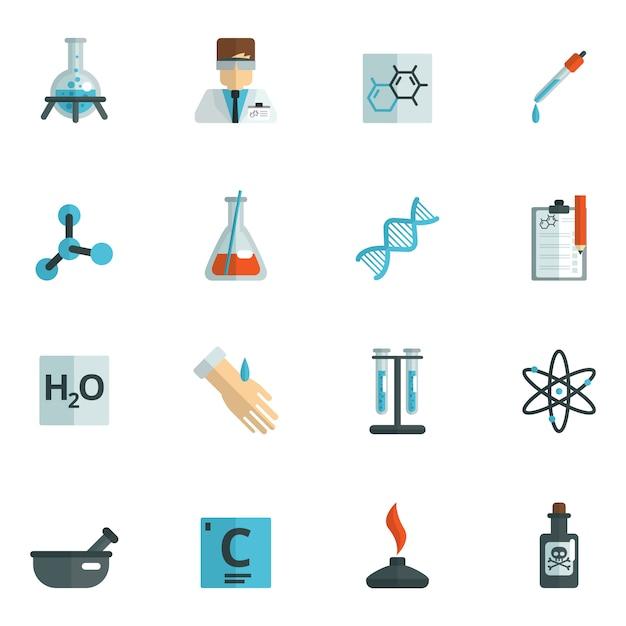 Ícones de química planas Vetor grátis