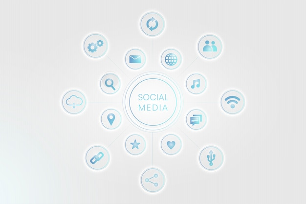 Ícones de redes sociais Vetor grátis