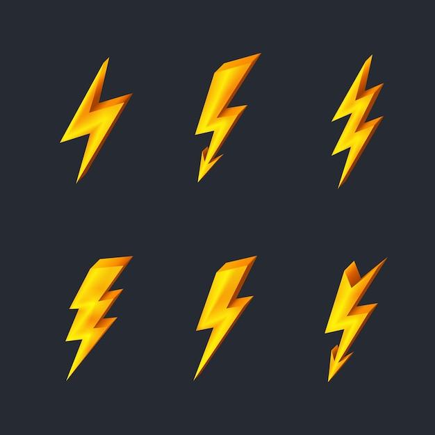 Ícones de relâmpago dourado na ilustração vetorial preta Vetor grátis