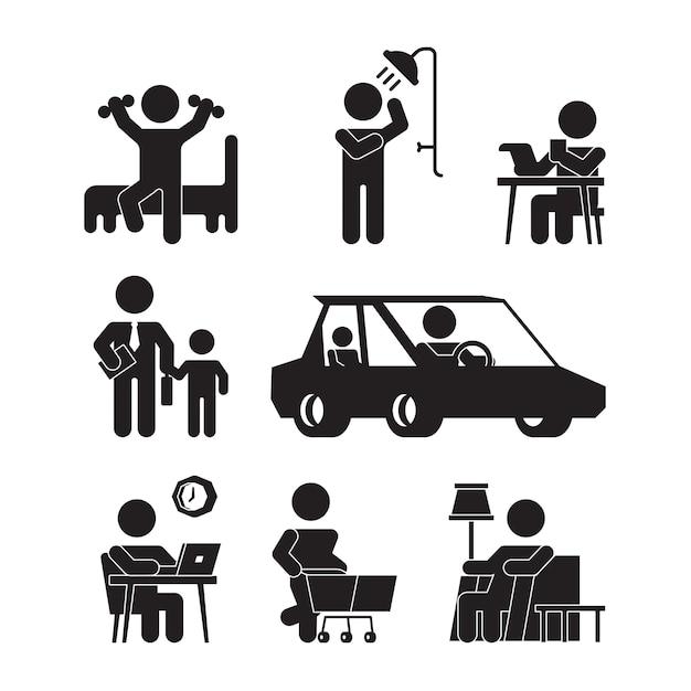 Ícones de rotina diária. silhuetas de estilo de vida de pessoa ativa acordam comendo banho trabalhando dormindo pictogramas de vetor. ilustração da vida cotidiana, vigília e sono Vetor Premium