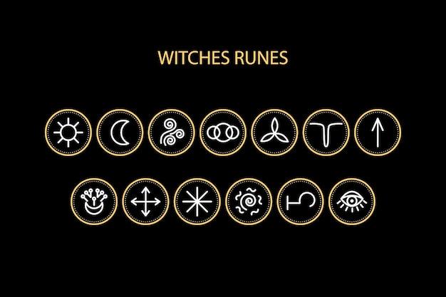 Ícones de runas de bruxas. pode ser usado para um site com adivinhação, previsões, magia. Vetor Premium