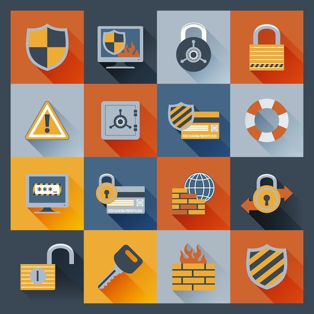 Ícones de segurança definido plano Vetor grátis