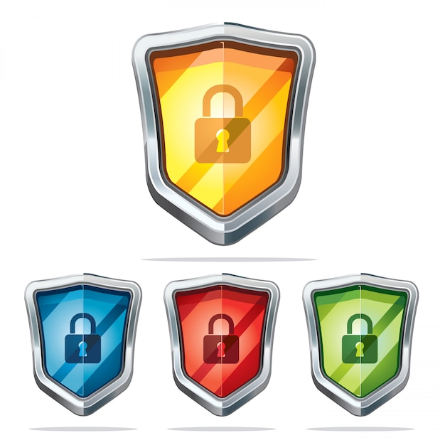 Ícones de segurança do escudo de proteção. Vetor Premium