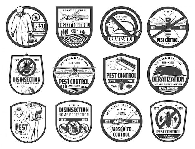 Ícones de serviço de controle de pragas com insetos Vetor Premium