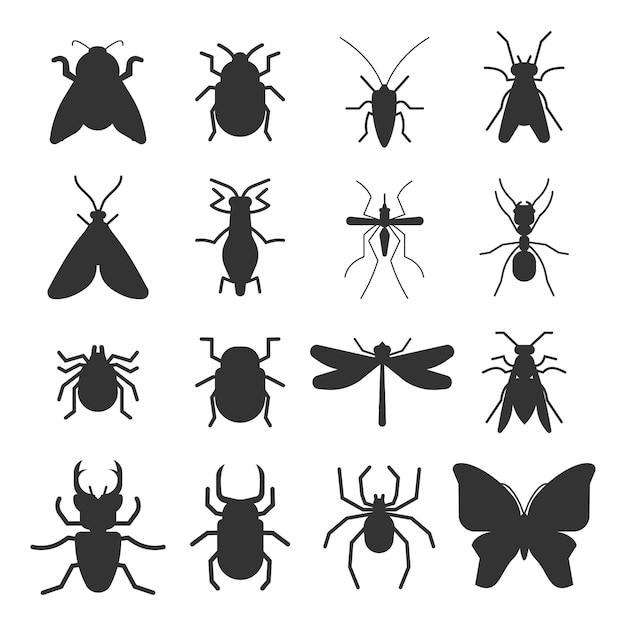 Ícones de silhueta de insetos populares isolados Vetor Premium