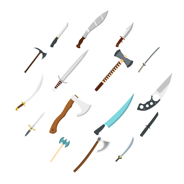 Ícones de símbolos de armas de aço definido em estilo simples Vetor Premium