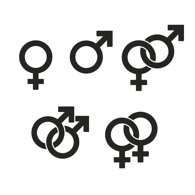 Ícones de símbolos de gênero. sinais entrelaçados opõem relacionamento estranho e heterossexual. Vetor Premium