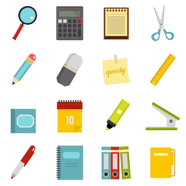 Ícones de símbolos de papelaria definidos em estilo simples Vetor Premium