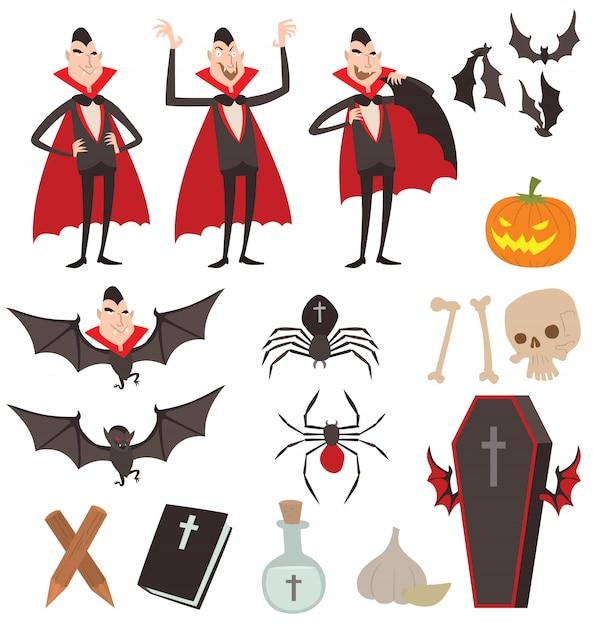 Ícones de símbolos de vetor de drácula dos desenhos animados Vetor Premium