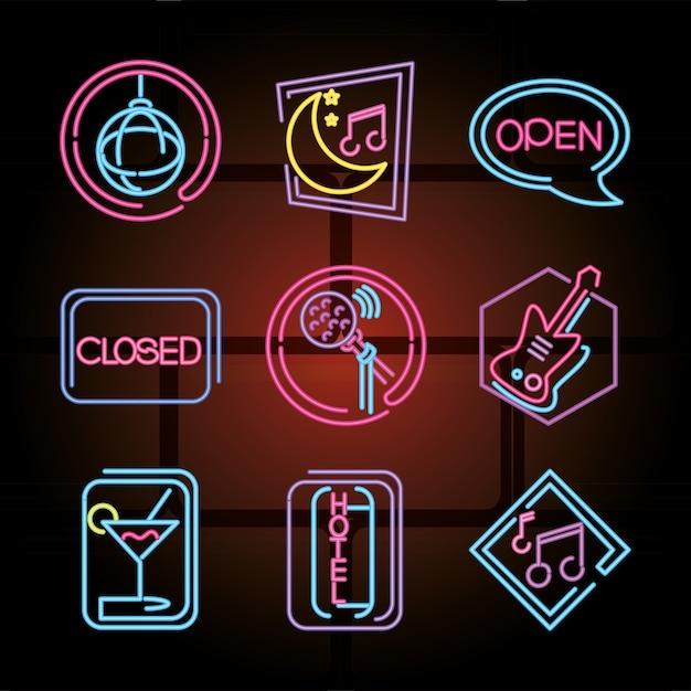 Ícones de sinal de néon definem ilustração de boate, discoteca e karaokê Vetor Premium