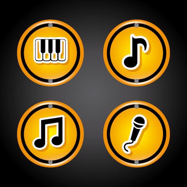 Ícones de som sobre cinza Vetor grátis