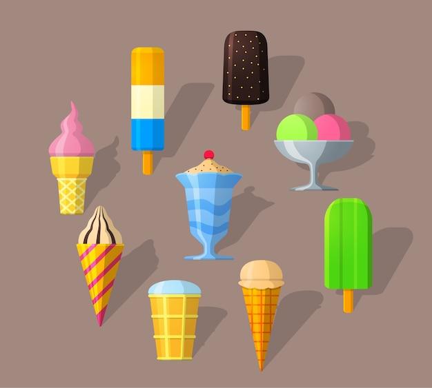 Ícones de sorvete em estilo simples e sombra longa. estilo simples detalhado. Vetor Premium