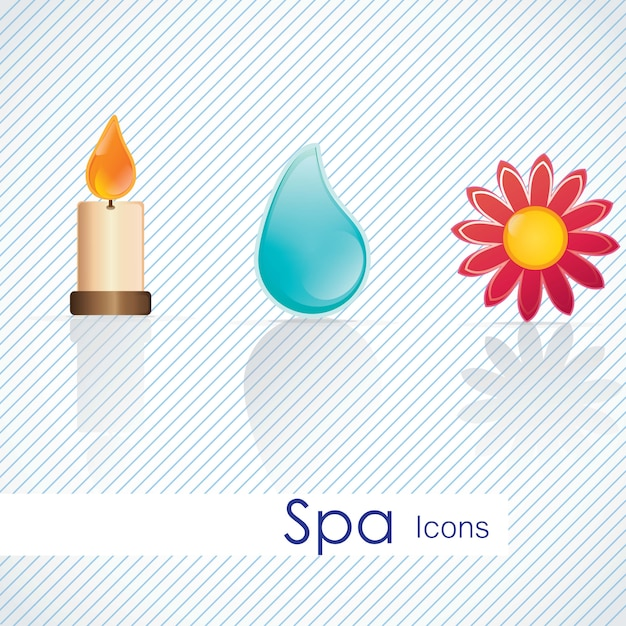 Ícones de spa sobre ilustração vetorial de luz de fundo Vetor Premium