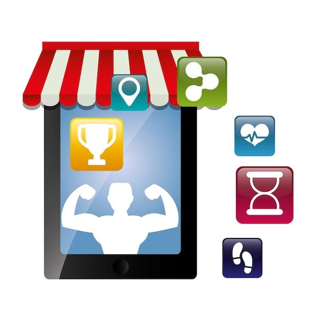 Ícones de tecnologia de app de fitness Vetor Premium