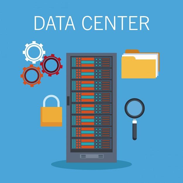 Ícones de tecnologia de data center Vetor Premium