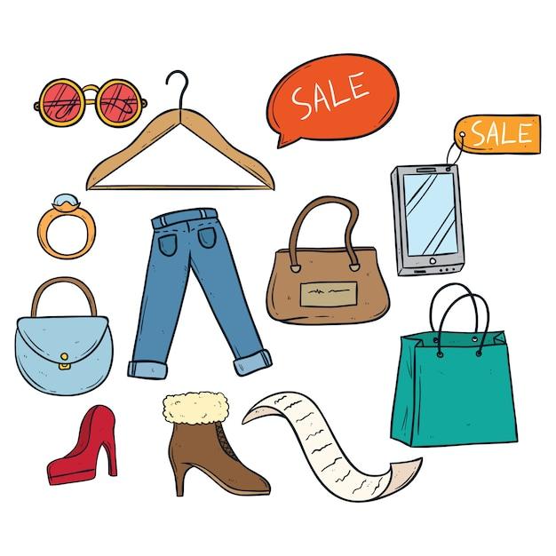 Ícones de tempo de compras e venda Vetor Premium