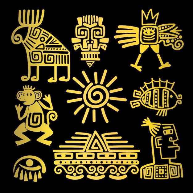Ícones de totem linear de ouro de estilo maia Vetor Premium