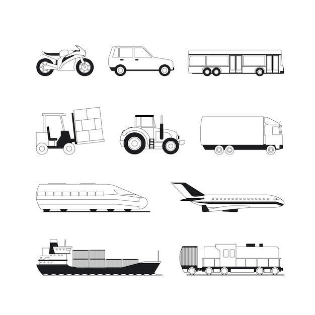 Ícones de transporte preto de contorno Vetor Premium