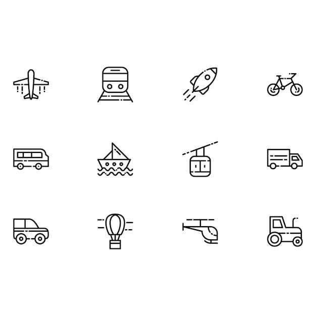 Ícones de transporte Vetor grátis
