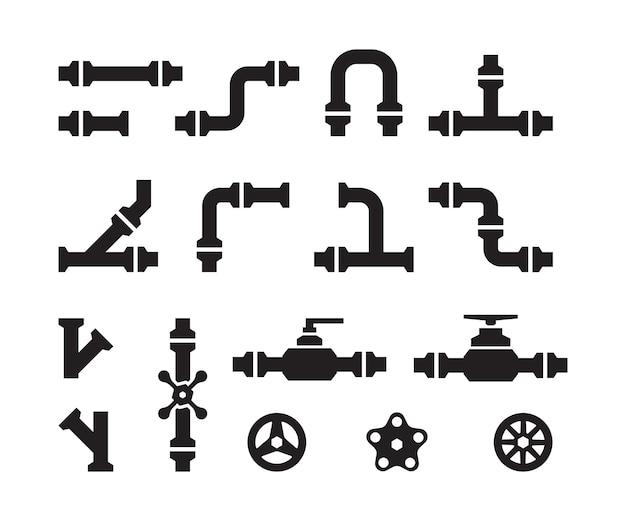 Ícones de tubulação. dutos de água da indústria metalúrgica construções de válvulas conectores de aço vetor tubos silhuetas. parte do tubo, tubulação para ilustração de água Vetor Premium